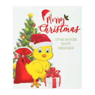 Little Baby Chicken Christmas Metal Print