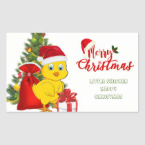 Little Baby Chicken Christmas Rectangular Sticker