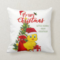 Little Baby Chicken Christmas Throw Pillow