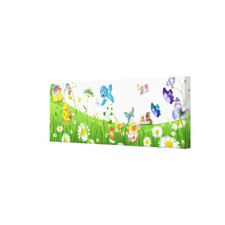 Little baby Chicks & Mom Garden Canvas Print