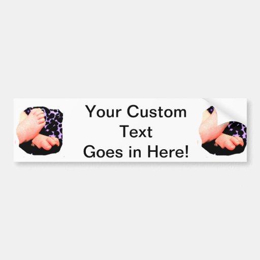 Little Baby Feet, Purple Leopard Background Bumper Stickers