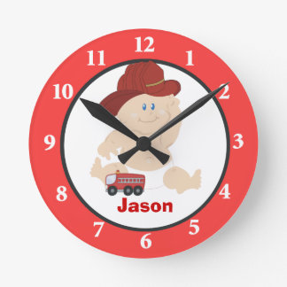 Little Baby Firefighter Personalized Wall Clock