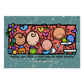 Little Baby & Friends! Customizable poster TEAL