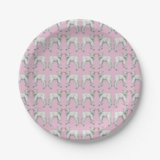 Little Baby Lamb Pink Paper Plates 7 Inch Paper Plate