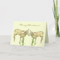 Little Baby Lambs on Yellow Christmas Card