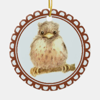 Little Baby Robin Double-Sided Ceramic Round Christmas Ornament