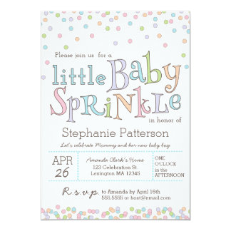 "Little Baby Sprinkle Confetti Shower Invitation 5"" X 7"" Invitation Card"