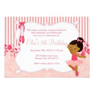 Little Ballerina birthday Invitations - version 2