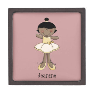 Little Ballerina Girl/Dark Complexion-Personalize Gift Box