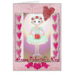 Little Ballerina in Green Tutu with Hearts Greeting Cards