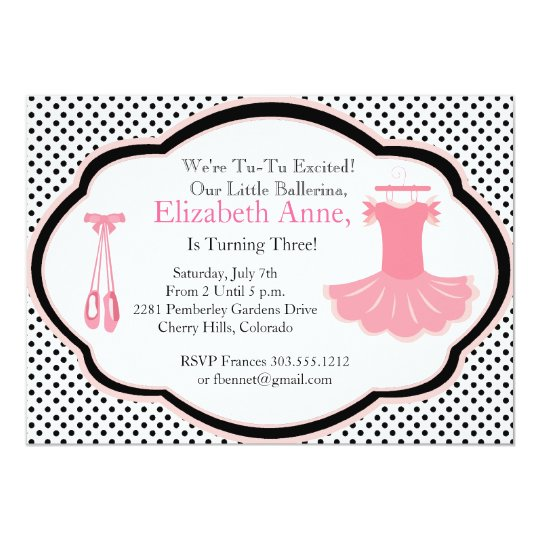 Little Ballerina Party Invitation Blk Polka Dots