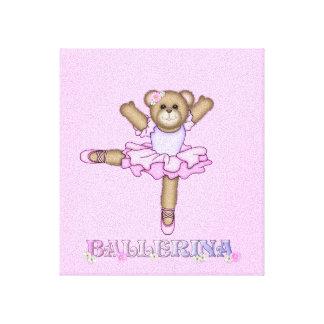 Little ballerina teddy bear canvas print