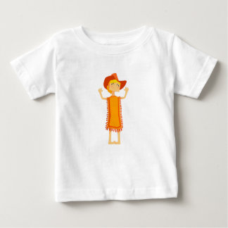 Little Barefoot Girl Wearing A Poncho And Cowboy H Baby T-Shirt