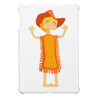 Little Barefoot Girl Wearing A Poncho And Cowboy H iPad Mini Covers