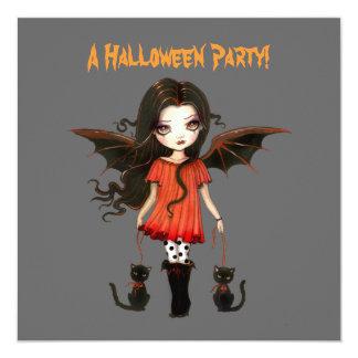 Little Bat Girl Vampire Gothic Cats Halloween Invitation