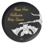 Little Bat Halloween Baby Shower Plates