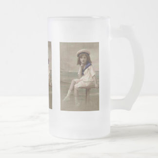 Little Bay Girl Frosted Glass Beer Mug