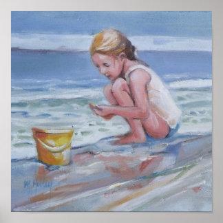 Little beachcomber girl with yellow bucket poster