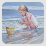 Little beachcomber girl with yellow bucket square stickers