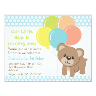 Little Bear and Balloons Birthday Party Invitation