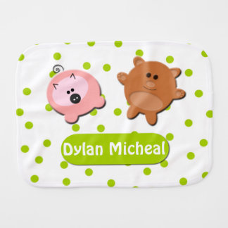 Little Bear and Piggie Customizable Burp Cloth