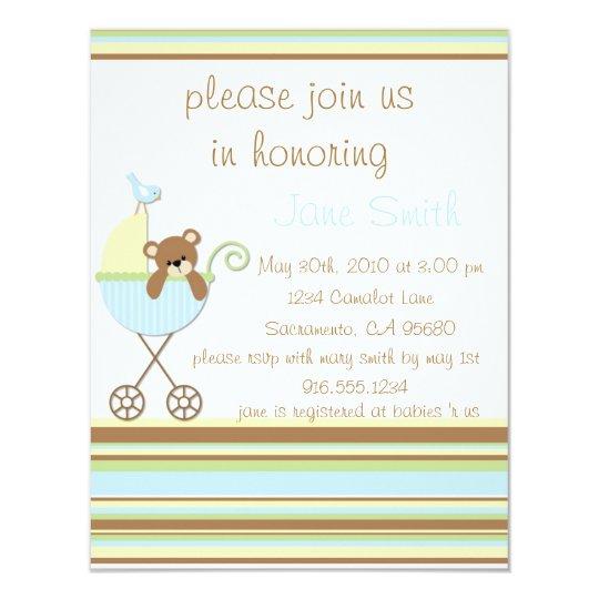 Little Bear Blue Baby Shower Invitation