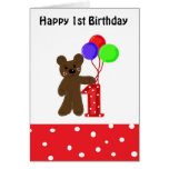 Little Bear First Birthday Greeting Cards