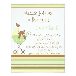 Little Bear Green Baby Shower Invitation