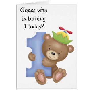 Little Bear Kids First Birthday Card