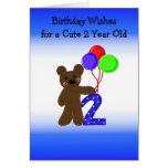 Little Bear Two Year Old Birthday Greeting Card
