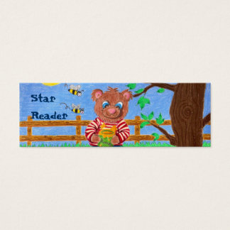 Little bear with honey, Star Reader mini bookmarks Mini Business Card