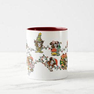 Little Bears and Christmas Lights Two-Tone Coffee Mug