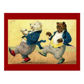 Little Bears, Cake Walk Dance Vintage Postcard