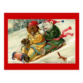 Little Bears, Sledding Vintage Postcard