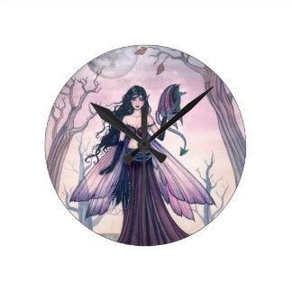Little Beast Purple Fairy and Dragon Fantasy Art Round Wall Clocks