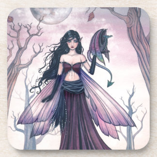 Little Beast Purple Fairy and Dragon Fantasy Art Beverage Coaster