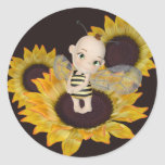 Little Bee Round Sticker