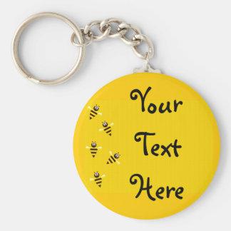 Little Bees Basic Round Button Keychain