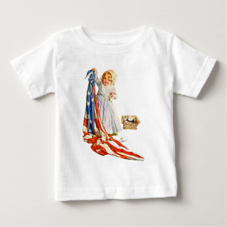 Little Betsy Ross and the America Flag Baby T-Shirt