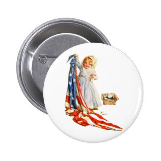 Little Betsy Ross and the America Flag 2 Inch Round Button