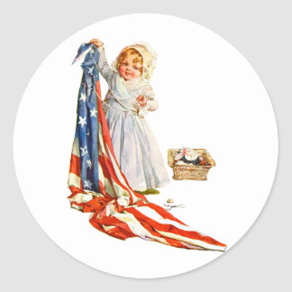 Little Betsy Ross and the America Flag Classic Round Sticker