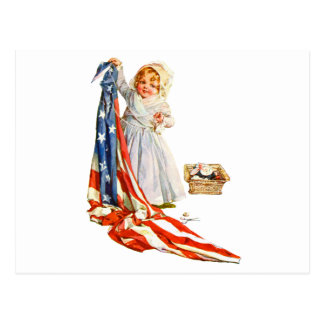 Little Betsy Ross and the America Flag Post Cards