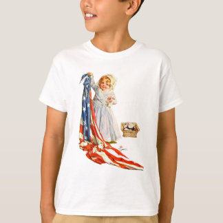 Little Betsy Ross and the America Flag T-Shirt