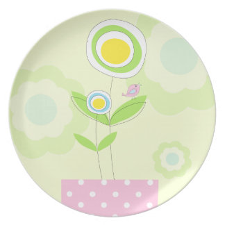 Little biird and flowers, pastel plate
