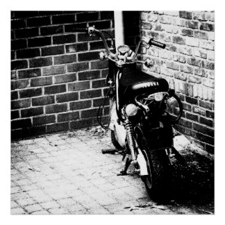 Little Bike Black & White Poster