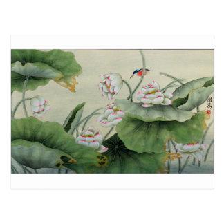 LITTLE BIRD AND LOTUS JAPANESE VINTAGE POSTCARD