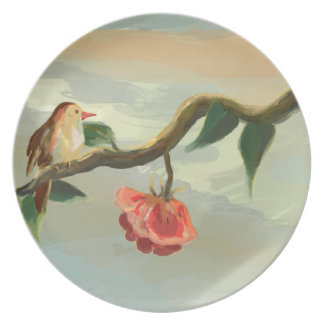 Little bird and red rose Plate