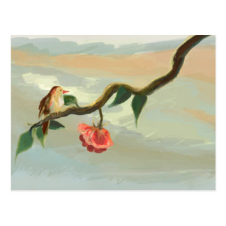 Little bird and red rose postcard