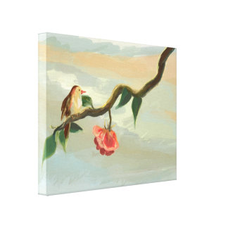 Little bird and red rose Wrapped Canvas