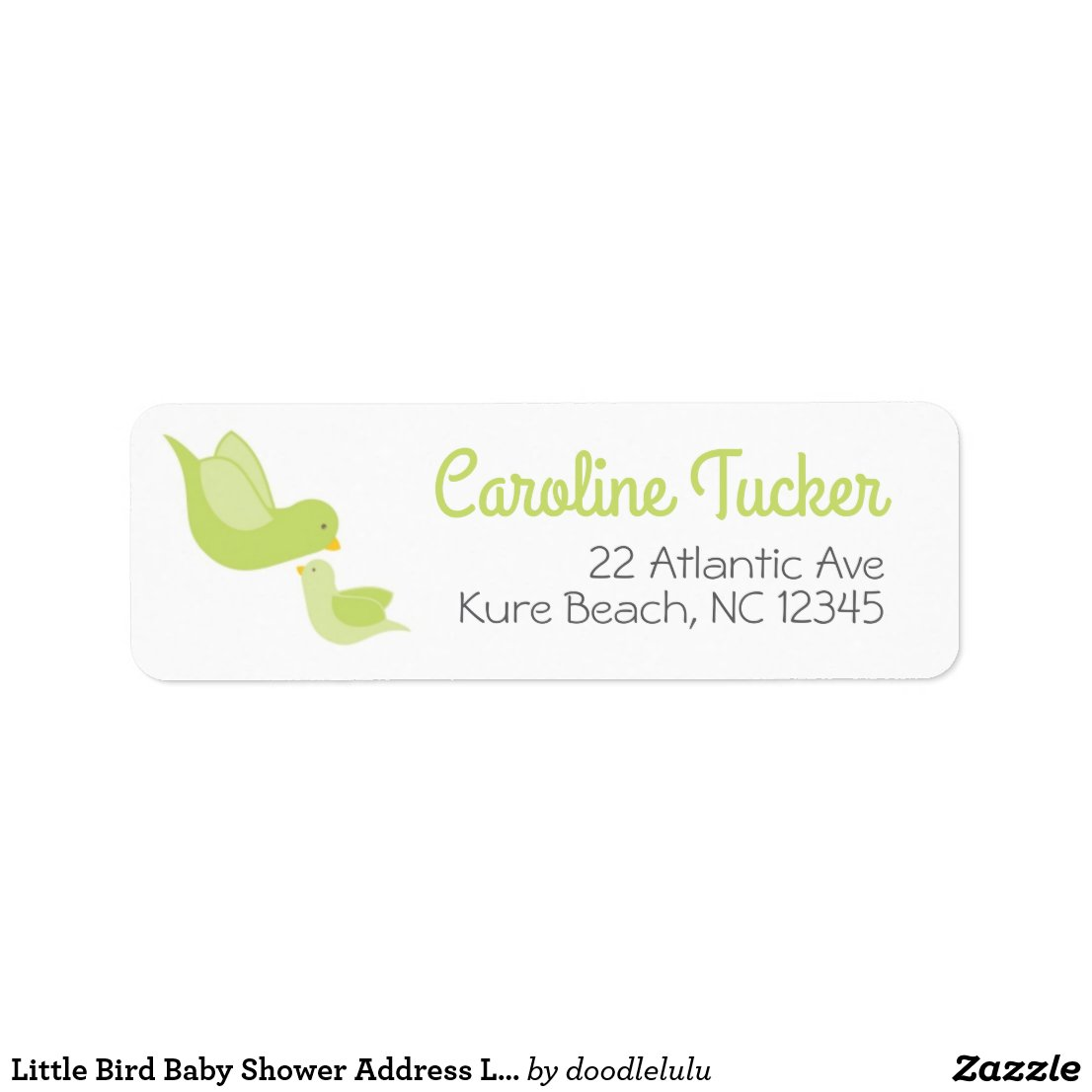 Little Bird Baby Shower Address Label green gray
